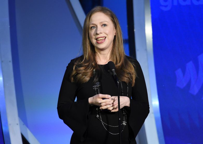 """FILE – Chelsea Clinton speaks at the 30th annual GLAAD Media Awards in New York on May 4, 2019. iHeartMedia announced Tuesday that """"In Fact with Chelsea Clinton,"""" hosted by Clinton, the daughter of former President Bill Clinton and former Secretary of State Hillary Clinton, will premier April 13. (Photo by Evan Agostini/Invision/AP, File)"""