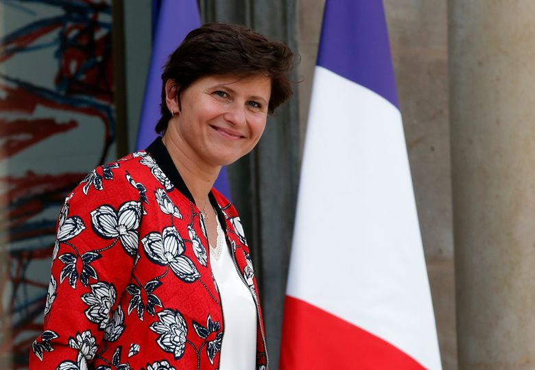 FILE – In this Wednesday, Sept. 5, 2018 file photo, French Sports Minister Roxana Maracineanu leaves the Elysee Palace after the weekly cabinet meeting, in Paris. A year-long, nationwide French effort to uncover and combat sexual violence in sports has identified more than 400 coaches, teachers and others suspected of abuse or covering it up. Most of the victims were under 15, according to data released Friday April 2, 2021, by the sports ministry. (AP Photo/Christophe Ena, File)