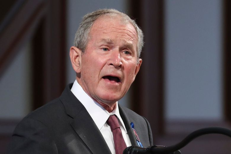 FILE – In this July 30, 2020 file photo, former President George W. Bush speaks during the funeral service for the late Rep. John Lewis, D-Ga., at Ebenezer Baptist Church in Atlanta. (Alyssa Pointer/Atlanta Journal-Constitution via AP, Pool)