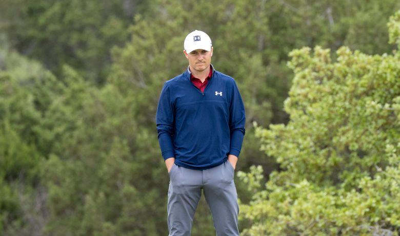 Jordan Spieth waits his turn to put during the third round of the 2021 Valero Texas Open golf tournament in San Antonio, Saturday, April 3, 2021. (AP Photo/Michael Thomas)