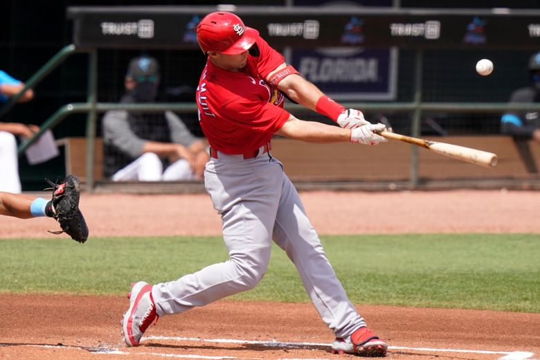 St. Louis Cardinals' Paul Goldschmidt hits a double during the second inning of a spring training baseball game against the Miami Marlins, Monday, March 22, 2021, in Jupiter, Fla. (AP Photo/Lynne Sladky)