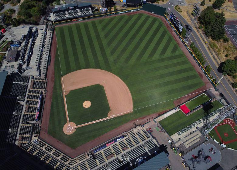Cheney Stadium, home of the minor league baseball team Tacoma Rainiers, sits empty during the coronavirus last August in Tacoma. (Ken Lambert / The Seattle Times)