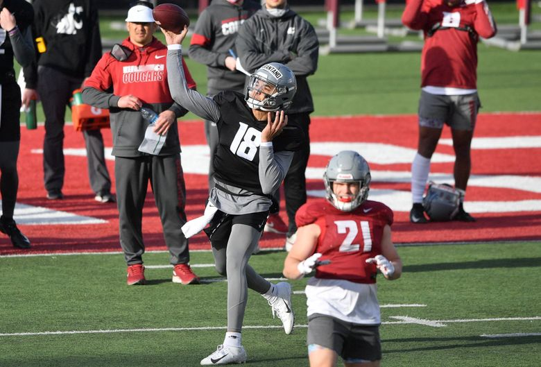 WSU's Jarrett Guarantano throws during a spring college football practice on Thursday, April 8, 2021, on WSU's practice field in Pullman, Wash. (Tyler Tjomsland / The Spokesman Review)