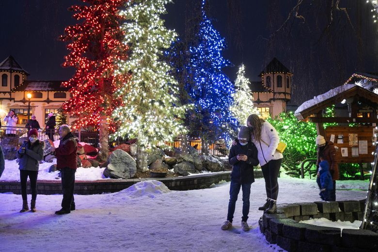 Leavenworth canceled last season's holiday lights festival due to COVID-19 but still had lights up. (Dean Rutz / The Seattle Times)