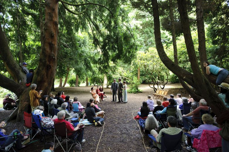 """Outdoor theater is back! GreenStage's 33rd Shakespeare in the Park  season starts July 9. Shown here is the Young Shakespeare Workshop's production of """"Much Ado About Nothing,"""" part of the GreenStage 2011 Shakespeare in the Park season. (Joel Hawksley / The Seattle Times)"""
