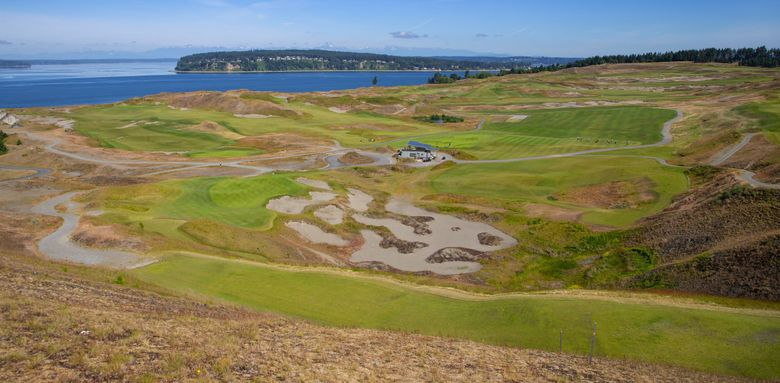 Chambers Bay public golf course in University Place, has sweeping views of Puget Sound and the Olympic Mountains.   (Mike Siegel / The Seattle Times, 2020)