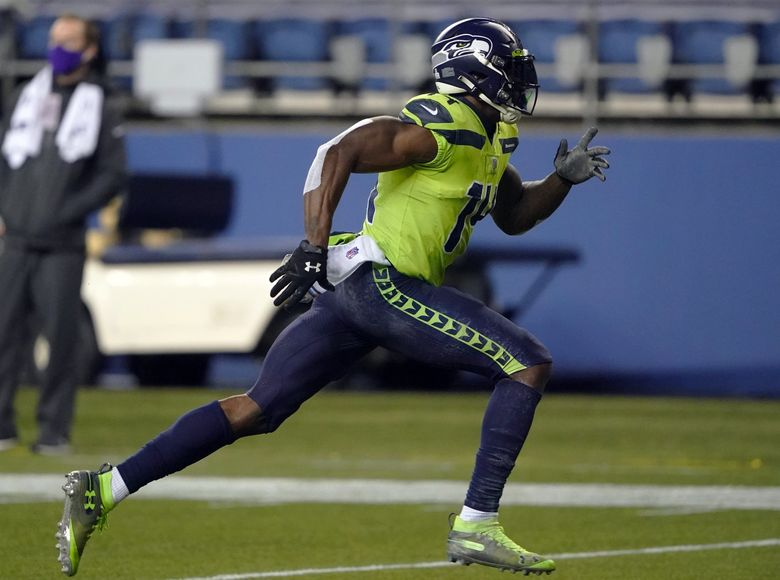 Seattle Seahawks wide receiver DK Metcalf in action during an NFL football game against the Minnesota Vikings, Sunday, Oct. 11, 2020, in Seattle. (Ted S. Warren / AP)