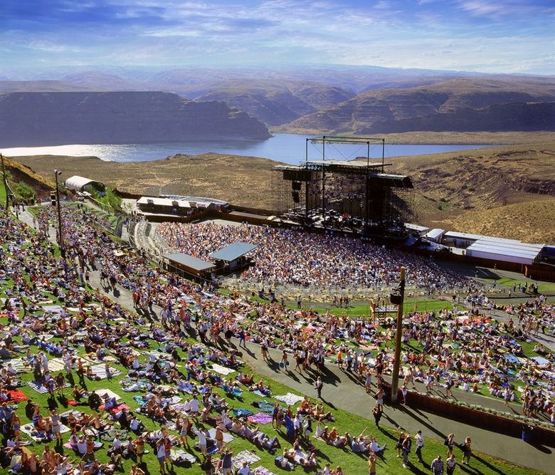 The Gorge Amphitheatre, as pictured in 2008. This year, the annual Watershed Music Festival at the Gorge, starting July 30, is poised to be the first large-scale show without capacity limits to kick off the outdoor concert season. (The Spokesman-Review, file)