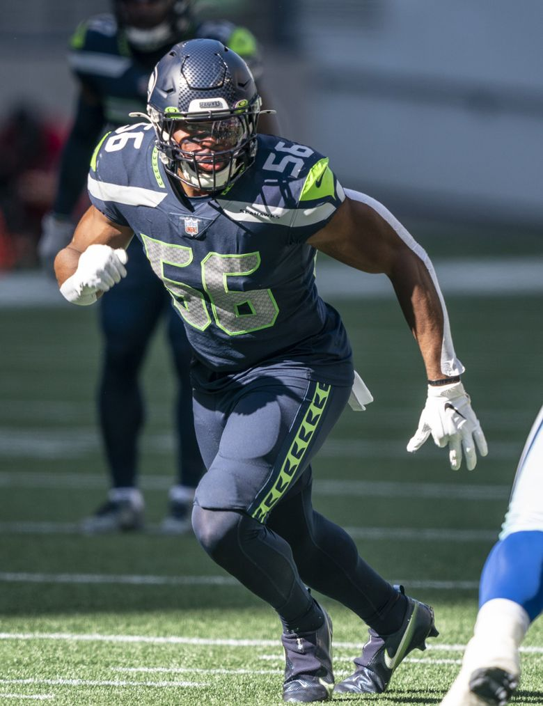 Seattle Seahawks linebacker Jordyn Brooks is pictured during the first half an NFL football game against the Dallas Cowboys, Sunday, Sept. 27, 2020, in Seattle. The Seahawks won 38-31.  (Stephen Brashear / AP)