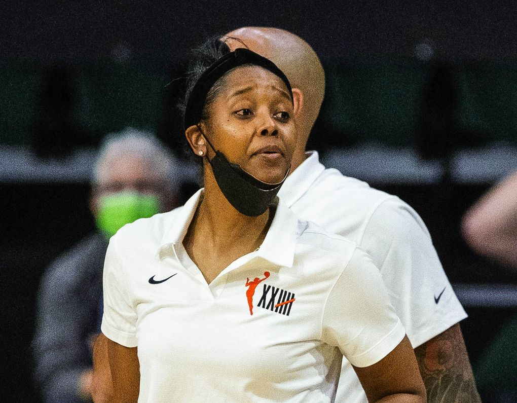Noelle Quinn, shown here filling in for coach Dan Hughes against Connecticut Tuesday, May 25, 2021, was named head coach of the Storm following Hughes' retirement announcement Sunday, May 30, 2021. (Dean Rutz / The Seattle Times)