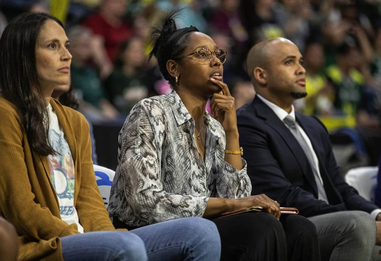 Storm assistant coach Noelle Quinn on the bench with her team Tuesday, June 4, 2019. (Dean Rutz / The Seattle Times)