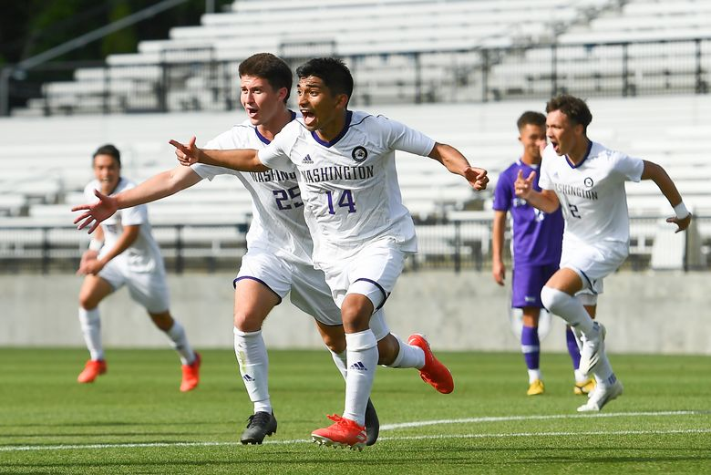 #14 Christian Soto celebrates scoring a goal Washington takes on Grand Canyon in the second round of the 2021 NCAA Men's Soccer Championship at the Sportsplex Soccer Complex on Sunday, May 02, 2021 in Matthews, North Carolina. (Tim Cowie / UW Athletics)