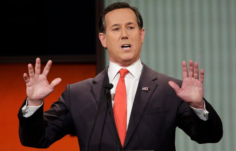 Former Pennsylvania Sen. Rick Santorum  went on CNN to try and explain comments about Native Americans that have led to criticism, but didn't appear to calm things down. Santorum told a group of young conservative last month that there was 'nothing here' when immigrants founded the United States. That angered Native Americans and others. He said on CNN that he was speaking in context of the U.S. government's creation and didn't mean to minimize treatment of Native Americans. (AP Photo/Chuck Burton, file)