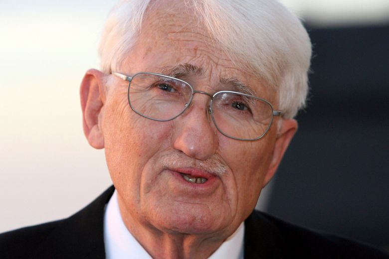 FILE-In this Nov. 7, 2006 taken photo German philosoph Juergen Habermas is seen in Koenigswinter near Bonn, Germany. The prominent German philosopher Juergen Habermas says he will not accept a high-priced literary award from the United Arab Emirates which he initially said he'd be happy to receive. (AP Photo/Hermann J. Knippertz)