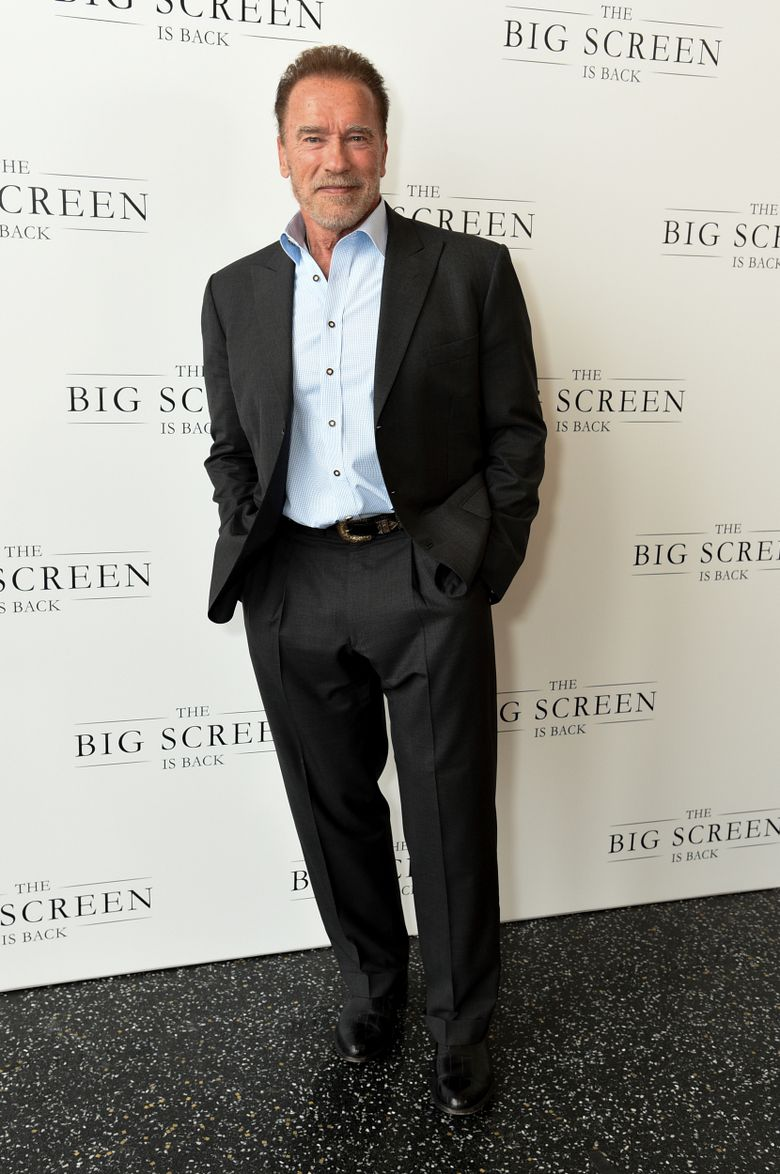Arnold Schwarzenegger arrives at The Big Screen is Back media event, including ten studios convening to showcase a sampling of their summer movie releases, on Wednesday, May 19, 2021, at AMC Century City 15 in Los Angeles. (Photo by Richard Shotwell/Invision/AP)