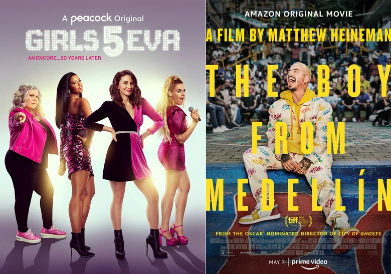 """This combination of photos shows promotional art for """"Girls5eva,"""" a Peacock original series premiering Thursday, left, and """"The Boy from Medellin,"""" a film premiering Friday on Amazon. (Peacock/Amazon via AP)"""