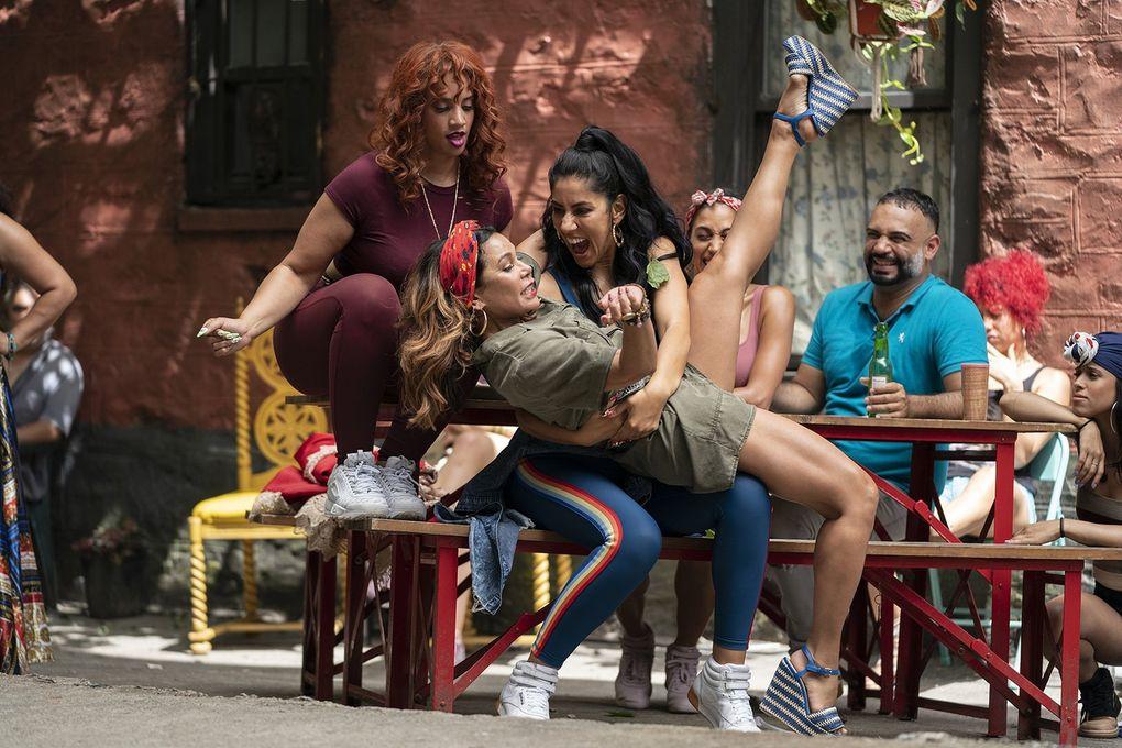 """In the Heights"" includes, from left, Dascha Polanco as Cuca, Daphne Rubin-Vega as Daniela and Stephanie Beatriz as Carla. (Macall Polay / Warner Bros. Entertainment)"