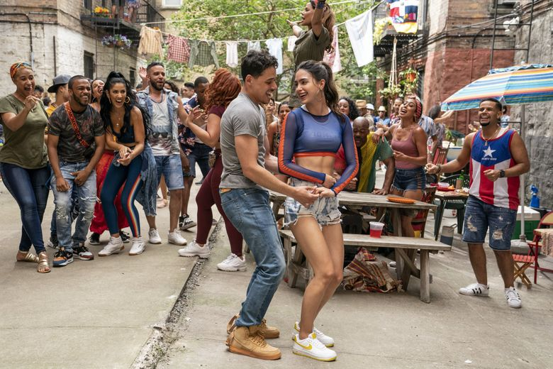 """Anthony Ramos stars as Usnavi and Melissa Barrera as Vanessa in """"In the Heights,"""" based on Lin-Manuel Miranda's hit Broadway musical. (Macall Polay / Warner Bros. Entertainment)"""