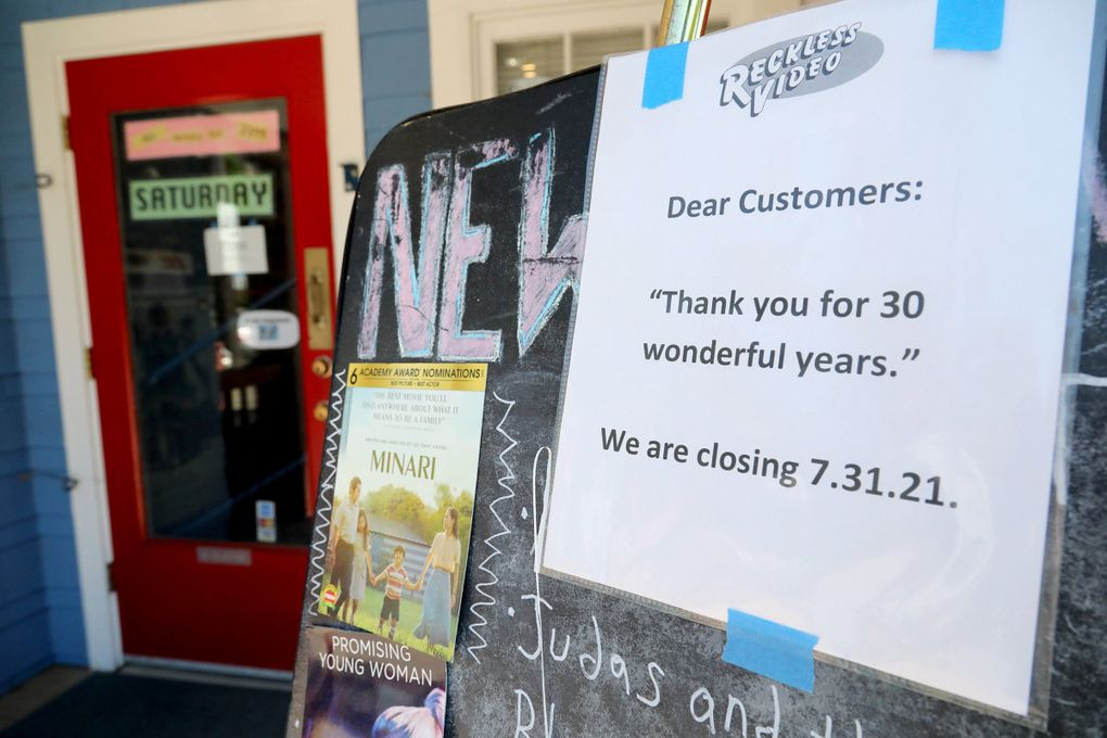 After 30 years of business, Reckless Video is closing its doors. Once it closes, that leaves Scarecrow Video as the last video rental store in Seattle. (Greg Gilbert / The Seattle Times)