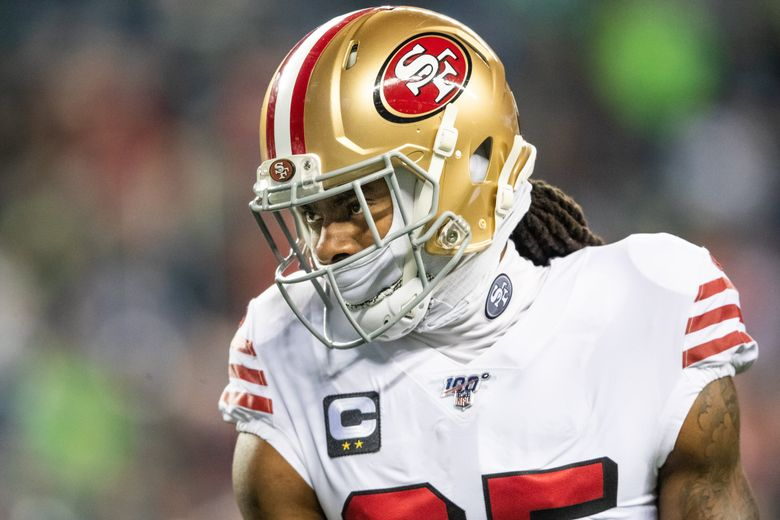 San Francisco 49ers cornerback Richard Sherman (25) looks on before the NFL football game between the Seattle Seahawks and the San Francisco 49er's at CenturyLink Field on Dec. 29, 2019. (Andy Bao / The Seattle Times)