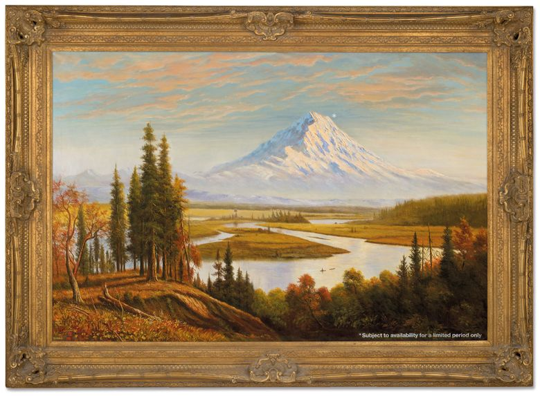 """In a cheeky commentary on climate change, in 2009, British artist Banksy creatively vandalized this 1890 painting by Hudson River School painter Albert Bierstadt. The artwork, now called """"Subject to Availability,"""" has a surprise for Northwest locals — Mount Rainier. It sold at auction Wednesday for 4,582,500 pounds, or $6,342,180.  (©Christie's Images Limited 2021 /  Courtesy of Christie's)"""