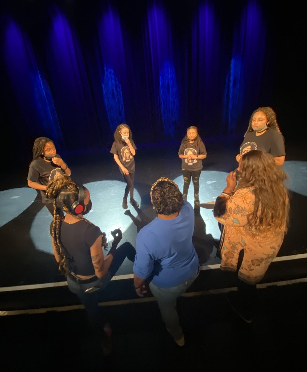 ELEVATE youth performers — from left, Maya Michelle Russell, Deasia Gordon, Estrella Gonzales-Sanders and Nyshae Griffin — discuss their spoken-word performances at the Paramount Theatre. (Courtesy of Seattle Theatre Group)