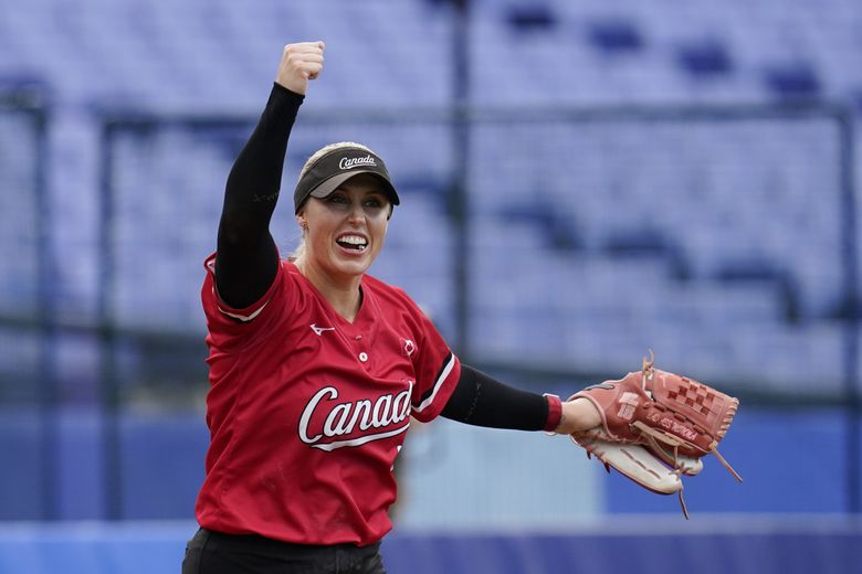 Canada's Danielle Lawrie reacts after a softball game against Mexico at the 2020 Summer Olympics, Tuesday, July 27, 2021, in Yokohama, Japan. Canada won 3-2. (Sue Ogrocki / The Associated Press)