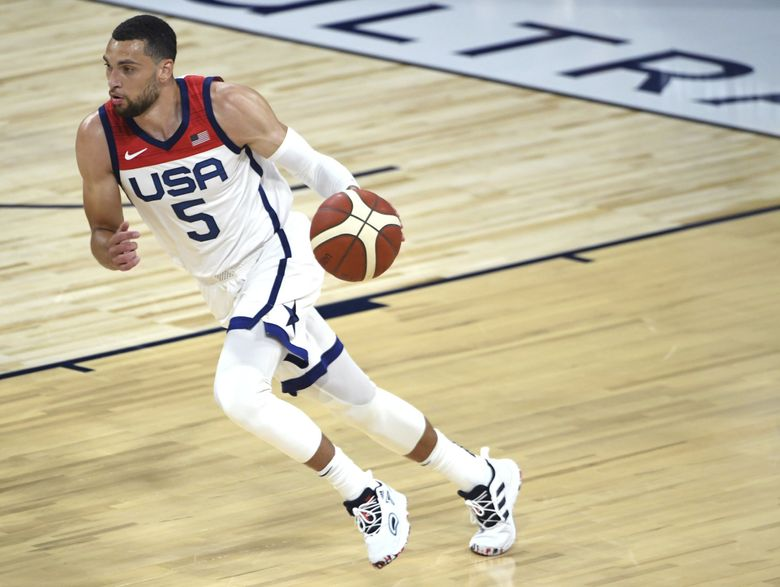 United States' Zach LaVine (5) brings the ball down court against Nigeria during an exhibition basketball game Saturday, July 10, 2021, in Las Vegas.(David Becker / AP)