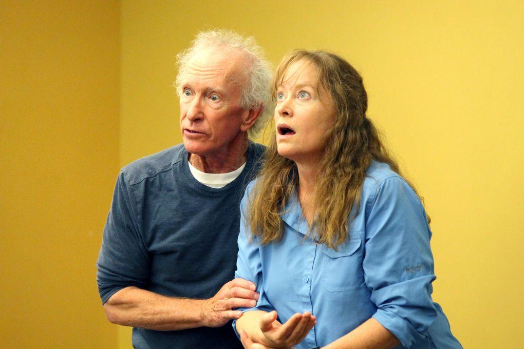 "R. Hamilton Wright and Kate Witt rehearse Seattle Shakespeare Company's ""The Comedy of Errors.""   (Courtesy of Seattle Shakespeare Company)"