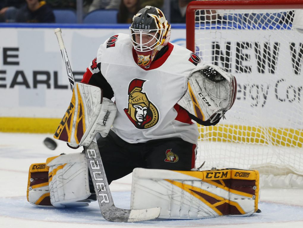 Ottawa Senators goalie Joey Daccord makes a save during the third period of the team's NHL hockey game against the Buffalo Sabres on Thursday, April 4, 2019, in Buffalo, N.Y. (Jeffrey T. Barnes / AP)
