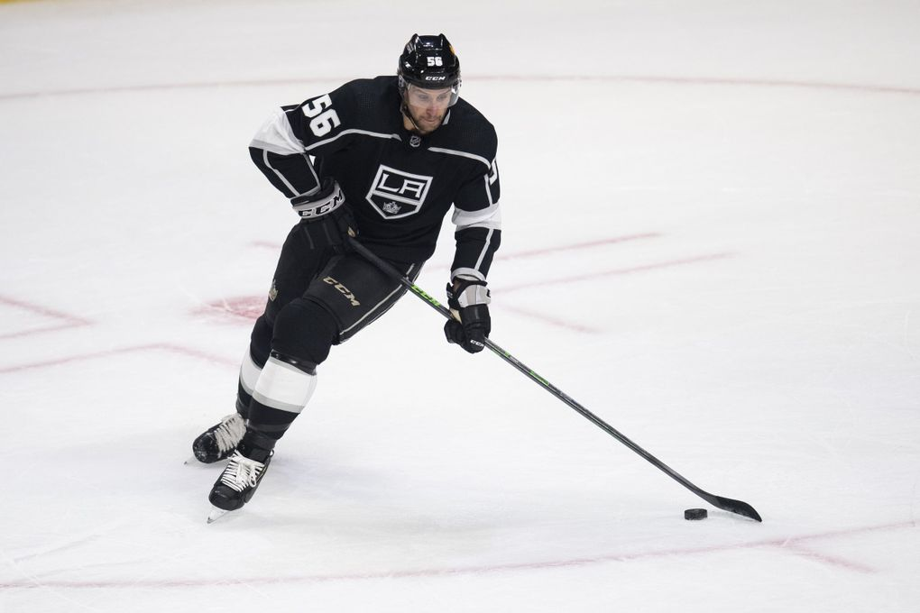Los Angeles Kings defenseman Kurtis MacDermid in the first period of an NHL hockey game against the Colorado Avalanche Tuesday, Jan. 19, 2021 in Los Angeles. (Kyusung Gong / AP)