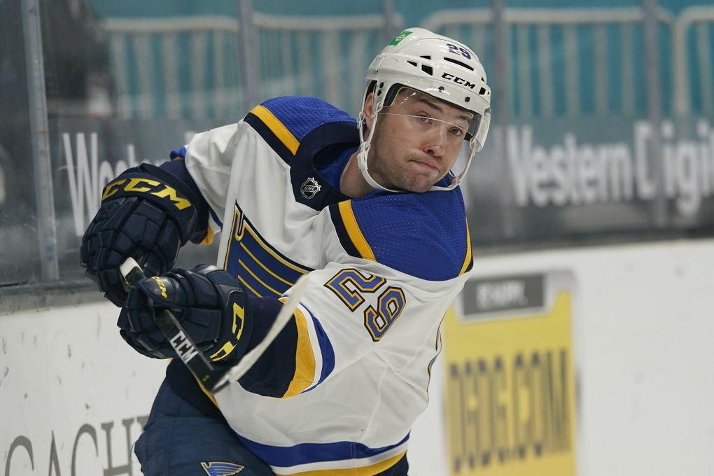St. Louis Blues defenseman Vince Dunn (29) against the San Jose Sharks an NHL hockey game in San Jose, Calif., Saturday, March 20, 2021. (Jeff Chiu / AP)