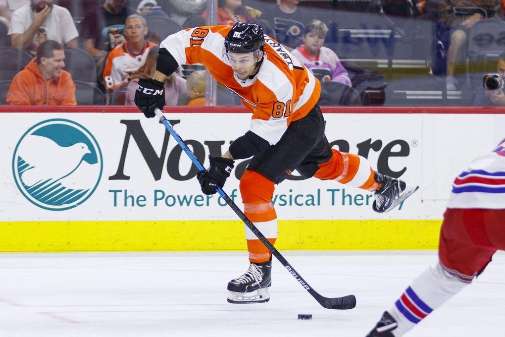Philadelphia Flyers' Carsen Twarynski in action during the second period of a preseason NHL hockey game against the New York Rangers, Saturday, Sept. 21, 2019, in Philadelphia. The Flyers won 4-1. (Chris Szagola / AP)
