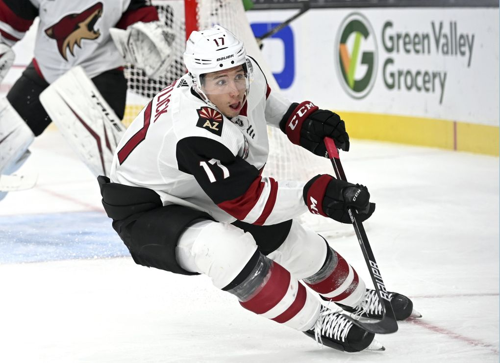 Arizona Coyotes center Tyler Pitlick (17) skates against the Vegas Golden Knights during the second period of an NHL hockey game Sunday, April 11, 2021, in Las Vegas. (David Becker / AP)