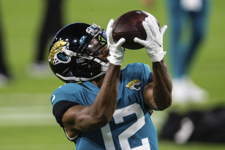 Jacksonville Jaguars wide receiver Dede Westbrook (12) during warm ups before an NFL football game against the Miami Dolphins, Thursday, Sept. 24, 2020, in Jacksonville, Fla. (AP Photo/Gary McCullough) (Gary McCullough / AP)