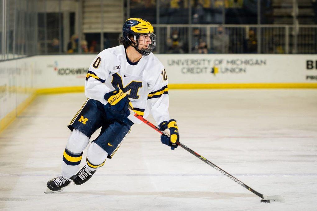 The Kraken made Michigan center Matthew Beniers, seen on Jan. 8, 2021, its first NHL entry draft pick in franchise history. (Daryl Marshke / TNS)