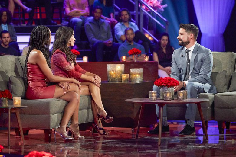 """Tayshia Adams, Kaitlyn Bristowe and Michael Allio talk on Monday's """"The Bachelorette: The Men Tell All."""" Sweet dad Michael, who'd accepted a rose, decided to go home to be with his young son. (Craig Sjodin / ABC)"""