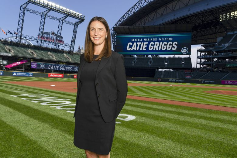 Catie Griggs was announced as new President of Business Operations for the Seattle Mariners Tuesday, July 27, 2021. Griggs, seen here at T-Mobile Park Tuesday, was formerly Chief Business Operator for the Major League Soccer team Atlanta United.  (Ben VanHouten / Seattle Mariners)