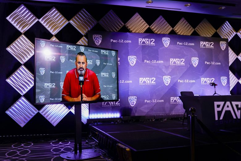 Washington State head coach Nick Rolovich answers question via video at the Pac-12 football Media Day in July. Rolovich was not allowed to attend in person because he is not vaccinated against the coronavirus.  (Marcio Jose Sanchez / The Associated Press)