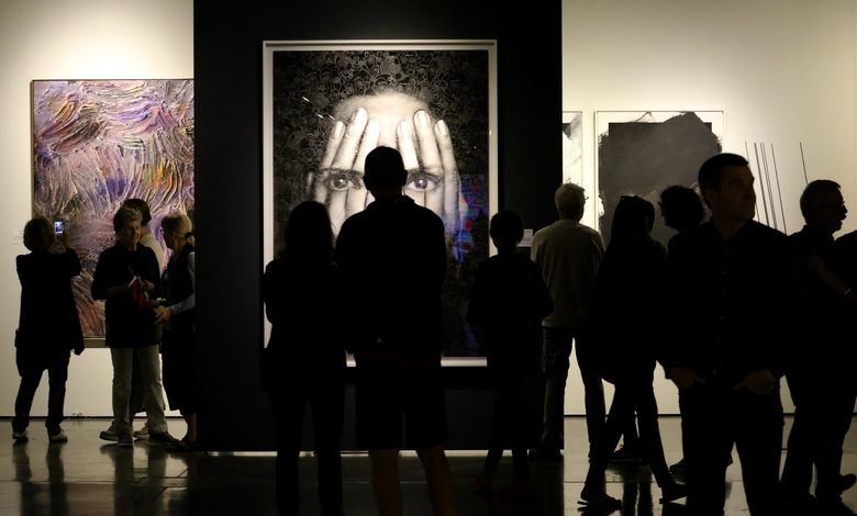 The 2018 Seattle Art Fair featured Tigran Tsitoghdzyan's eye-catching mixed media piece brought to the event by the Sponder Gallery of Boca Raton, Florida. After a lapse of two years, Seattle Art Fair will resume in 2022, organizers said Tuesday. (Alan Berner / The Seattle Times)