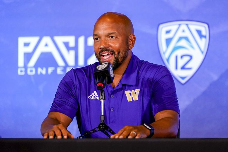 Washington head coach Jimmy Lake conducts an interview during the Pac-12 Conference NCAA college football Media Day Tuesday, July 27, 2021, in Los Angeles.(Marcio Jose Sanchez / AP)