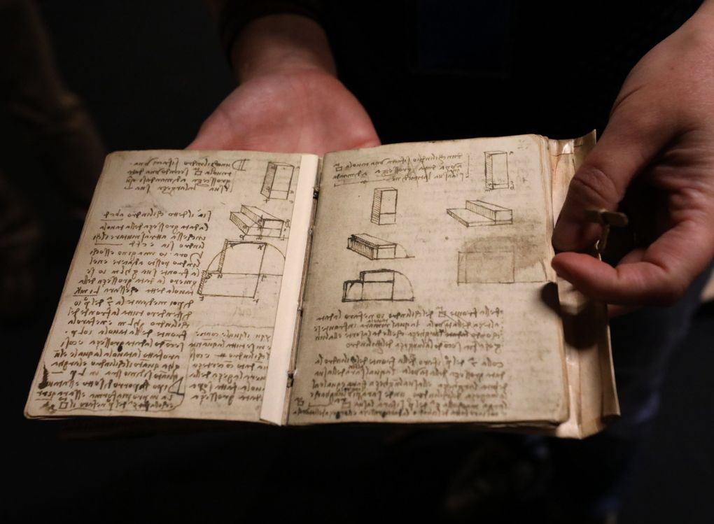 """Leonardo da Vinci's notebooks are works of art in themselves. This is a reproduction on exhibit at MOHAI as part of the """"Da Vinci — Inventions"""" show starting July 31. (Alan Berner / The Seattle Times)"""