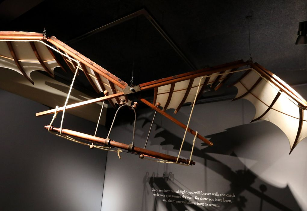 Leonardo da Vinci was fascinated with the possibility of human flight. This model, from one of his designs of a flying machine, would flap its wings, while the pilot would lie flat in it. (Alan Berner / The Seattle Times)