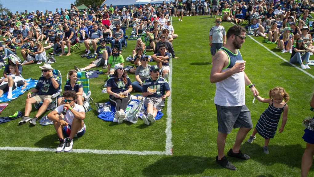 The Seattle Seahawks opened camp to the general public at the VMAC in Renton, WA. Training camp was closed last year due to COVID restrictions. (Dean Rutz / The Seattle Times)