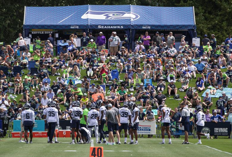 The Seattle Seahawks opened camp to the general public Wednesday, July 28, 2021 at the VMAC in Renton, WA. (Dean Rutz / The Seattle Times)