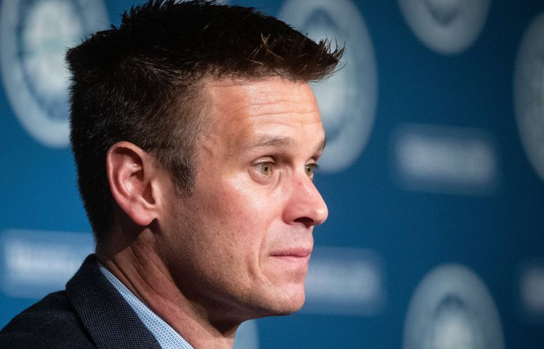 Seattle Mariners general manager Jerry Dipoto speaks at a press conference announcing the signing of Evan White in 2019. (Andy Bao / The Seattle Times)