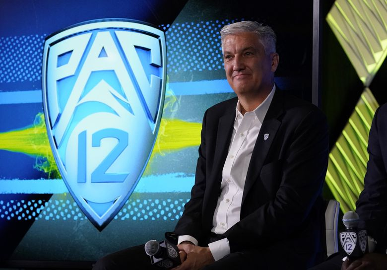 Pac-12 Commissioner George Kliavkoff fields questions during the Pac-12 Conference NCAA college football Media Day Tuesday, July 27, 2021, in Los Angeles.  (Marcio Jose Sanchez / The Associated Press)