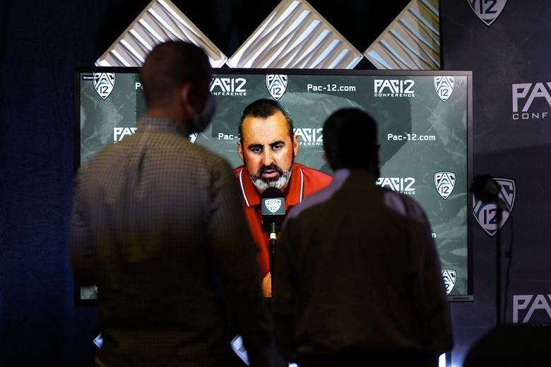 Washington State head coach Nick Rolovich answers question via video conference during the Pac-12 Conference NCAA college football Media Day Tuesday, July 27, 2021, in Los Angeles.  (Marcio Jose Sanchez / AP)