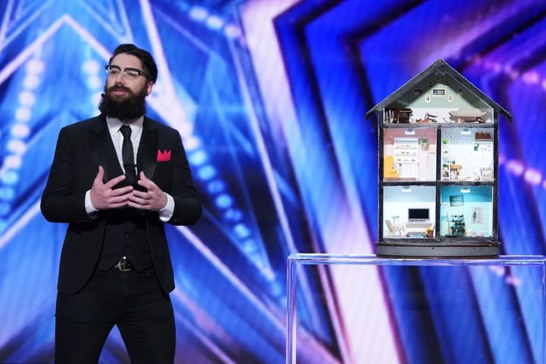 """Mentalist Peter Antoniou, who relocated from his native England to Seattle on Jan. 6, used this homemade dollhouse as part of his act on """"America's Got Talent."""" Each room is devoted to a different judge on the show. (Tyler Golden / NBC)"""