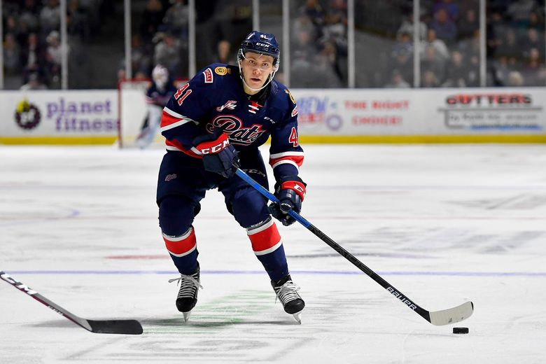The Regina Pats' Ryker Evans controls the puck during a game against the Seattle Thunderbirds on Jan. 17, 2020 at the accesso ShoWare Center in Kent. (Alika Jenner / Getty Images)